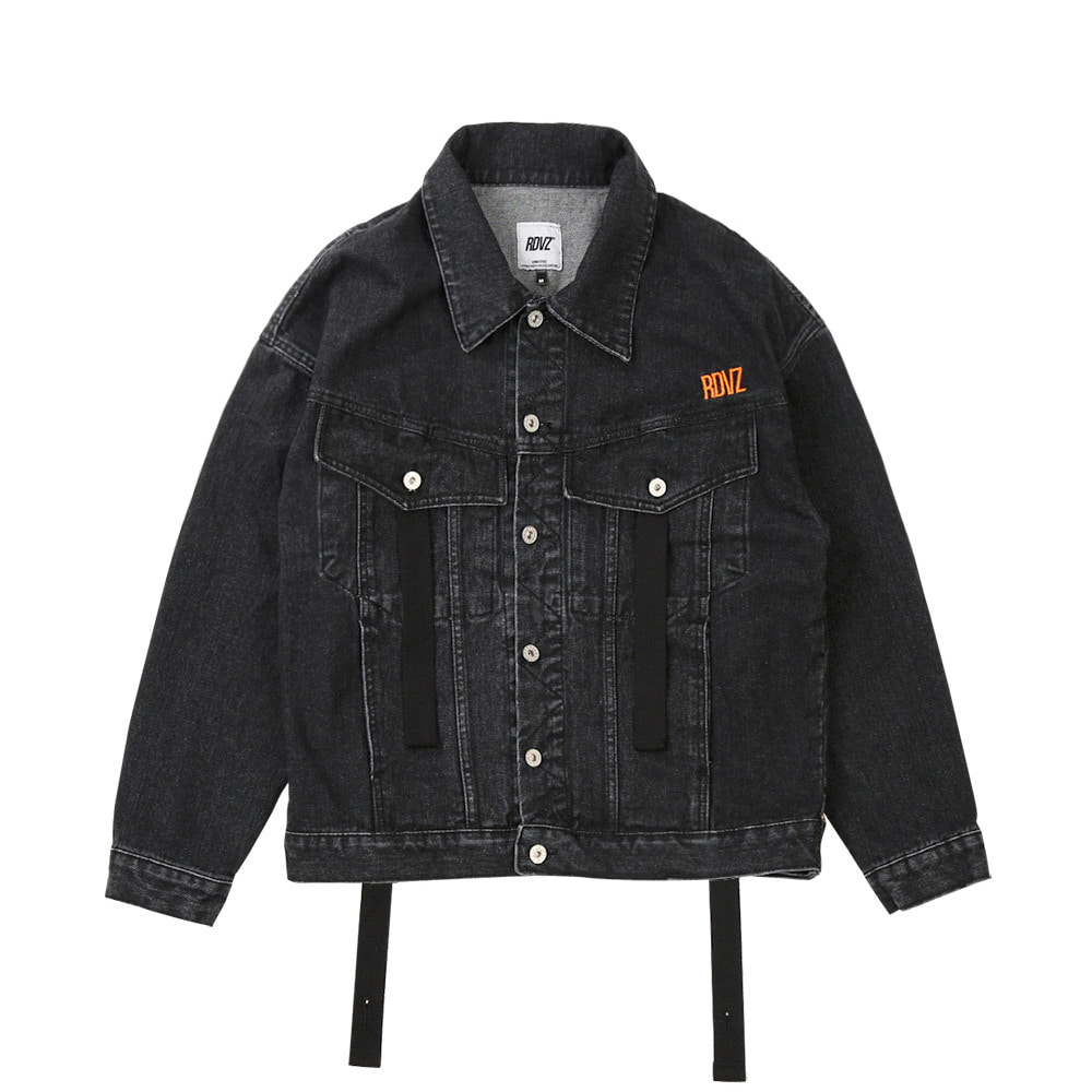 랑데부 RDVZ DENIM TRUCKER JACKET BLACK